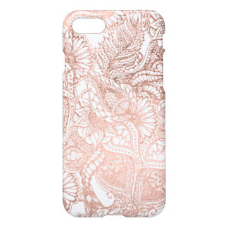 Modern rose gold foil hand drawn floral pattern iPhone 7 case