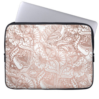 Modern rose gold foil hand drawn floral pattern laptop sleeve