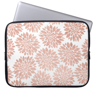 Modern rose gold  geometric floral abstract laptop computer sleeves