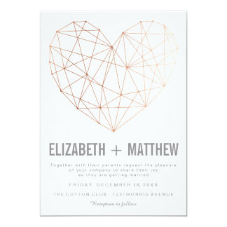 Modern rose gold geometric heart Wedding Card