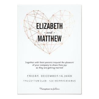 Modern rose gold geometric heart Wedding Card