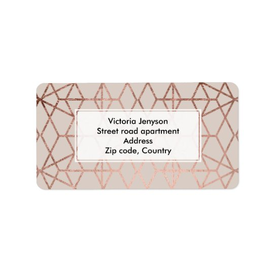 Modern rose gold geometric lines abstract on taupe label