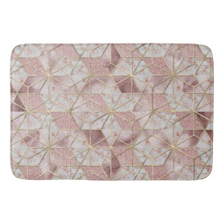 Modern rose gold geometric star flower pattern bath mat