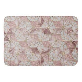 Modern rose gold geometric star flower pattern bath mats