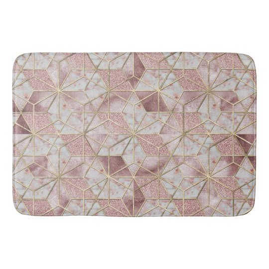 Modern rose gold geometric star flower pattern bath