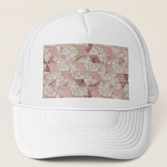 Modern rose gold geometric star flower pattern trucker