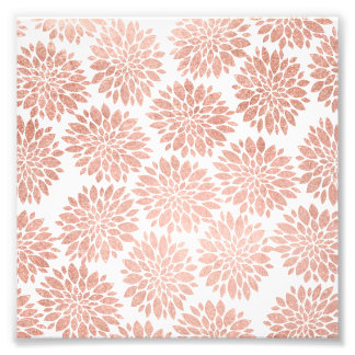 Modern rose gold girly floral abstract geometric photo print