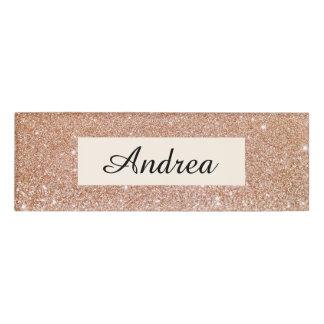 Modern Rose Gold Glitter Beauty Salon Employee Name Tag