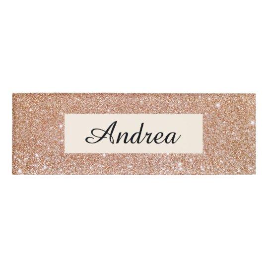Modern Rose Gold Glitter Beauty Salon Employee Name