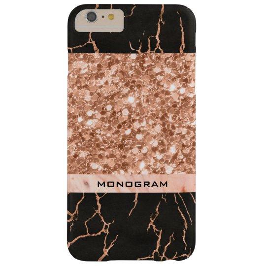 Modern Rose-Gold Glitter & Black Marble Pattern Barely