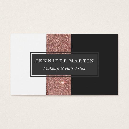 Modern Rose Gold Glitter Black White Colour Blocks