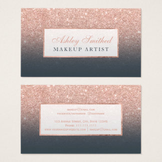Modern rose gold glitter charcoal ombre makeup business card