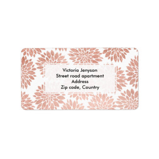 Modern rose gold glitter floral abstract geometric label