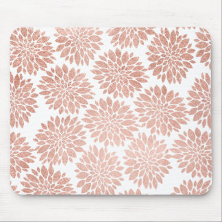 Modern rose gold glitter floral abstract geometric mouse mat