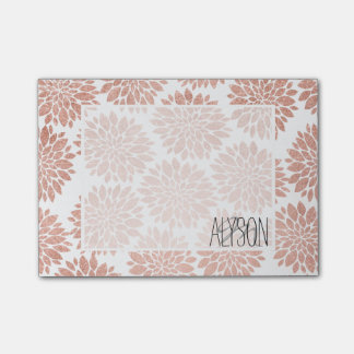 Modern rose gold glitter floral abstract geometric post-it notes