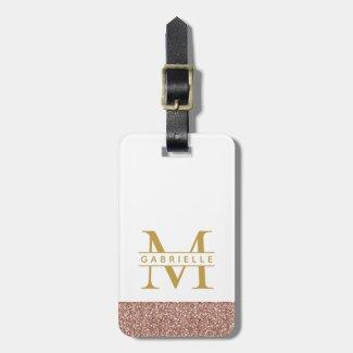 Modern Rose Gold Glitter & Gold Travel Bag Luggage Tag