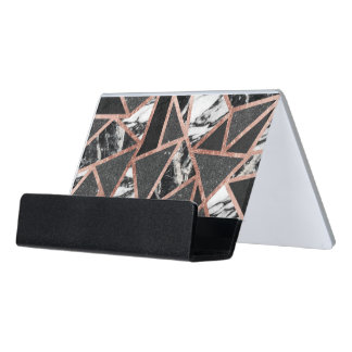 Modern Rose Gold Glitter Marble Geometric Triangle Desk Business Card Holder