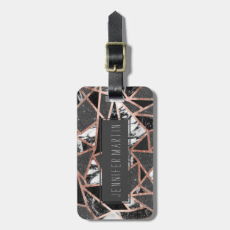 Modern Rose Gold Glitter Marble Geometric Triangle Luggage Tag