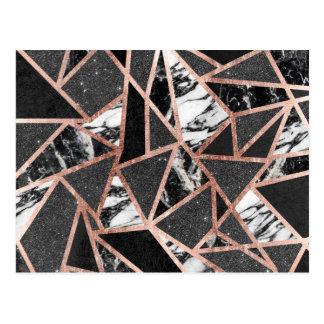 Modern Rose Gold Glitter Marble Geometric Triangle Postcard