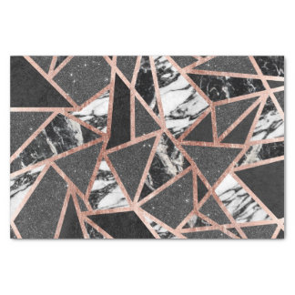 Modern Rose Gold Glitter Marble Geometric Triangle Tissue Paper