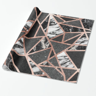 Modern Rose Gold Glitter Marble Geometric Triangle Wrapping Paper