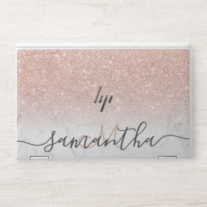 Modern rose gold glitter ombre  marble monogram HP laptop skin