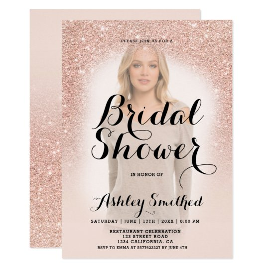 Modern rose gold glitter ombre photo bridal shower