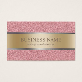 Modern Rose Gold Glitter Stripe Foil Elegant Business Card