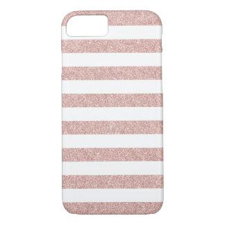 Modern Rose Gold Glitter Stripes iPhone 8/7 Case
