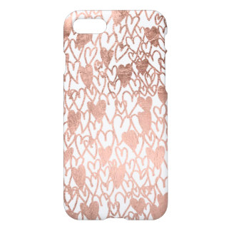 Modern rose gold hand drawn love hearts pattern iPhone 7 case