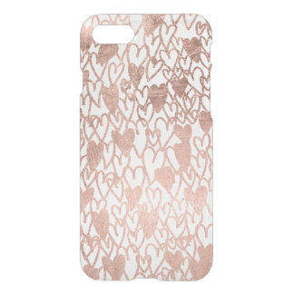 Modern rose gold hearts illustration pattern iPhone 7 case