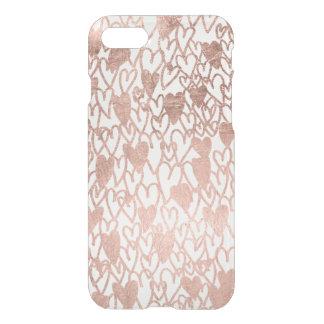 Modern rose gold hearts illustration pattern iPhone 7 case