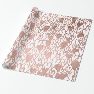 Modern rose gold hearts illustration pattern wrapping paper