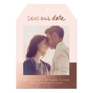 "Modern rose gold leaf | Save the date announcement 5"" X 7"" Invitation Card"