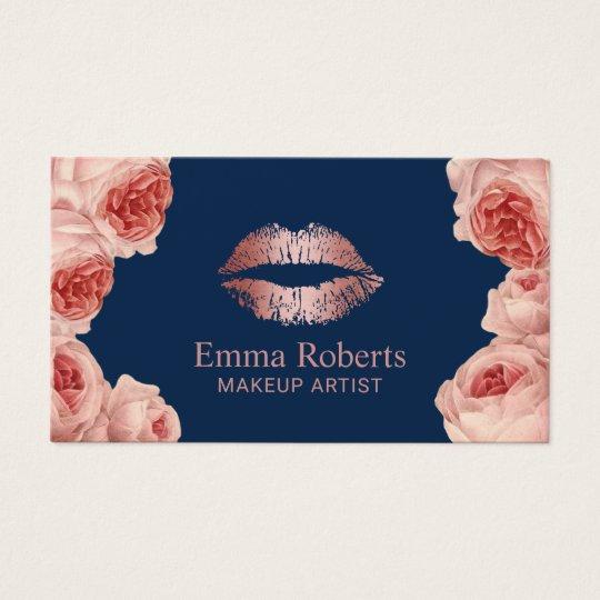 Modern Rose Gold Lips Floral Makeup Artist Navy