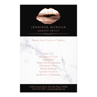 Modern Rose Gold Lips Marble Beauty Salon Flyer