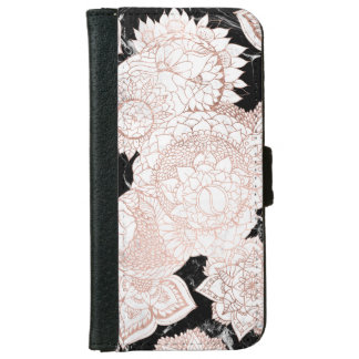 Modern rose gold mandala chic marble iPhone 6 wallet case