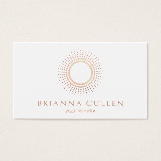 Modern Rose Gold Mandala Circle Logo, White Yoga