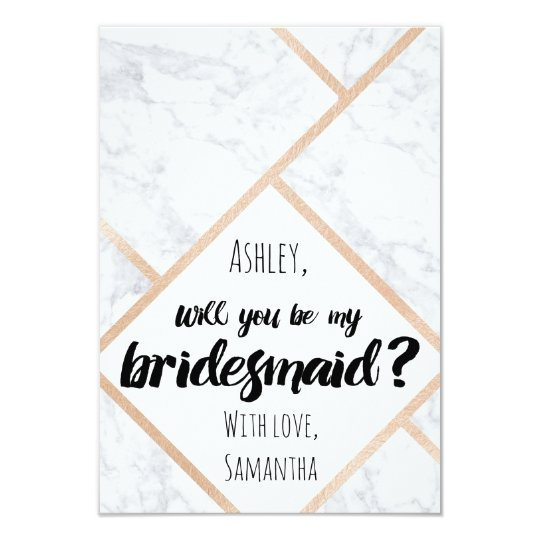 Modern rose gold marble colour block my bridesmaid