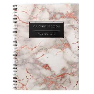 modern rose gold marble spiral notebook
