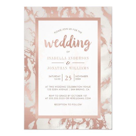 Modern Rose Gold Marble Wedding Card
