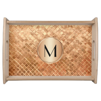 Modern Rose Gold Metallic Look and Monogram Serving Tray