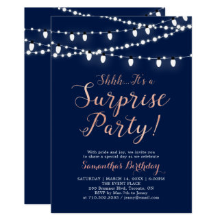 Modern Rose Gold & Navy Surprise Birthday Party Card