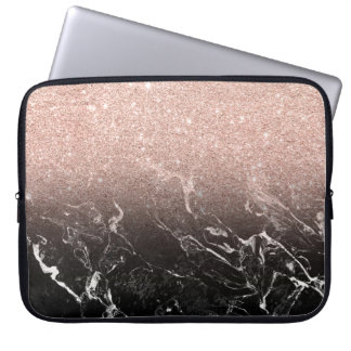 Modern rose gold ombre black marble color block laptop sleeves