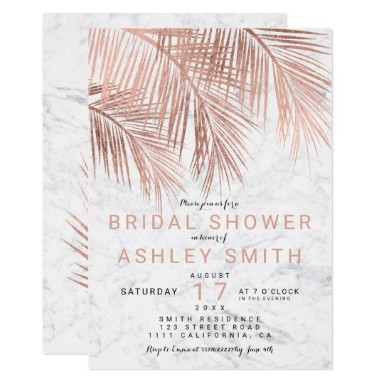 Modern rose gold palm tree marble Bridal shower