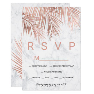 Modern rose gold palm tree marble RSVP wedding Card