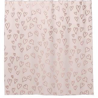 Modern Rose Gold Pastel Pink Love Hearts Pattern Shower Curtain