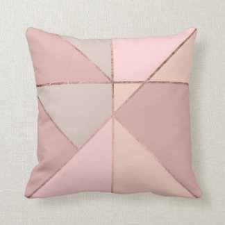 Modern rose gold peach tan blush color block cushion