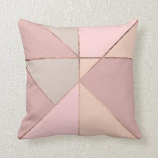 Modern rose gold peach tan blush color block cushions