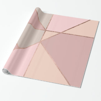 Modern rose gold peach tan blush color block wrapping paper